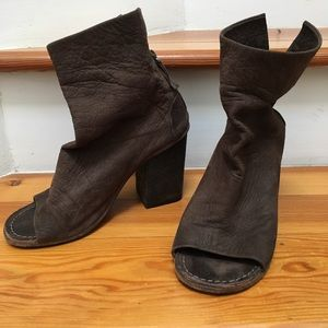 Marsell Open Peep Toe Ankle Boots Brown 38 8
